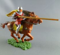 Elastolin - Middle age - Mounted striking with lance cape triangle shield brown horse (ref 8868)
