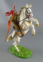 Elastolin - Middle age - Norman mounted with spear gold armour white rearing up horse (ref 8856)