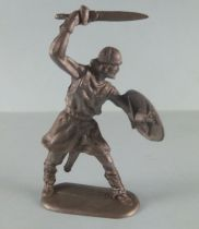 Elastolin - Middle age - Trooper footed fighting sword above head (ref 8838) Soft plastic