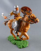 Elastolin - Moyen-âge - Cavalier chargeant hache Tunique ocre cheval maron (réf 8854)