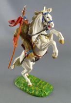Elastolin - Moyen-âge - Normand Cavalier lance armure dorée cheval blanc cabré (réf 8886)