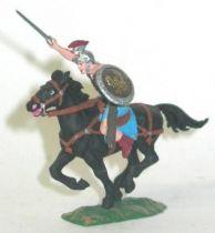 Elastolin - Preiser 40mm - Romans - Mounted charging black horse (ref 8459-4)