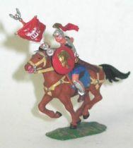 Elastolin - Preiser 40mm - Romans - Mounted flag holder brown horse (ref 8453-4)