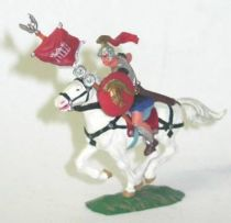Elastolin - Preiser 40mm - Romans - Mounted flag holder white horse (ref 8453-4)