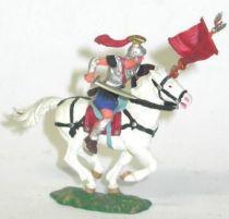 Elastolin - Preiser 40mm - Romans - Mounted flag holder white horse (ref 8453-4)