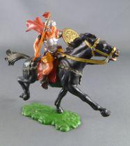 Elastolin - Romains - Cavalier lance main droite jupe jaune cheval noir (réf 8457)
