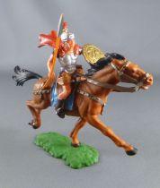 Elastolin - Romains - Cavalier lance main droite jupe ocre cheval marron (réf 8457)