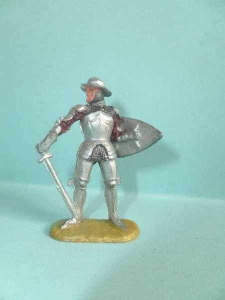 Elastolin 40mm -  XIV / XVIII siecle - Ritters piéton épée bouclier (réf 8934 4)