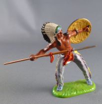 Elastolin Preiser - Indians - Footed chief with shield & spear (ref 6822)