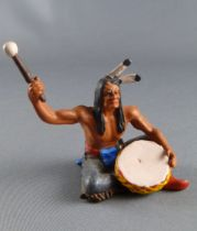 Elastolin Preiser - Indians - Footed seated with drum grey pants (ref 6836)