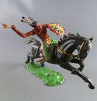 Elastolin Preiser - Indiens - Cavalier tomahawk & bouclier cheval noir (réf 6852)