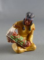 Elastolin Preiser - Indiens - Squaw assise avec bébé (réf 6833)