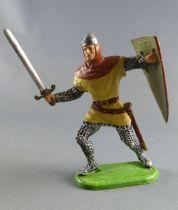 Elastolin Preiser - Moyen-âge - Normand Piéton attaquant épée & bouclier (crème) (réf 51003)