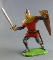 Elastolin Preiser - Moyen-âge - Normand Piéton attaquant épée & bouclier (rouge) (réf 51003)