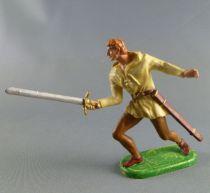 Elastolin Preiser - Moyen-âge - Normand Piéton attaquant épée tête nue (réf 51004)