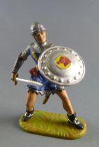 Elastolin Preiser - Moyen-âge - Piéton Chevalier cote de maille combattant épée (bleu) (réf 8803)