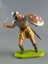 Elastolin Preiser - Moyen-âge - Piéton défendant épée derrière lui (ocre) (réf 8837)