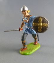 Elastolin Preiser - Moyen-âge - Piéton marchant épée sur le coté (bleu) (réf 8833)