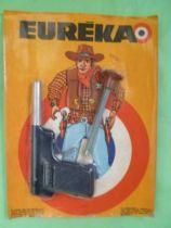 Eureka - Pistolet tir aux pigeons avec flechette neuve sur carte Cowboy