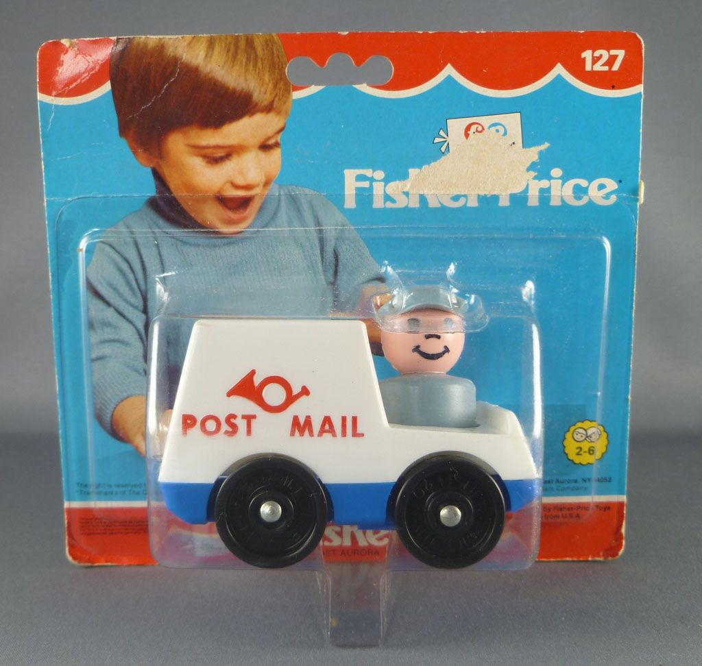 Fisher-Price 1979 - Little People - Mail Truck Post Mail with mailman (Ref 127)