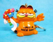 Garfield - Bully PVC Figure - Garfield with flowers (Keychain)