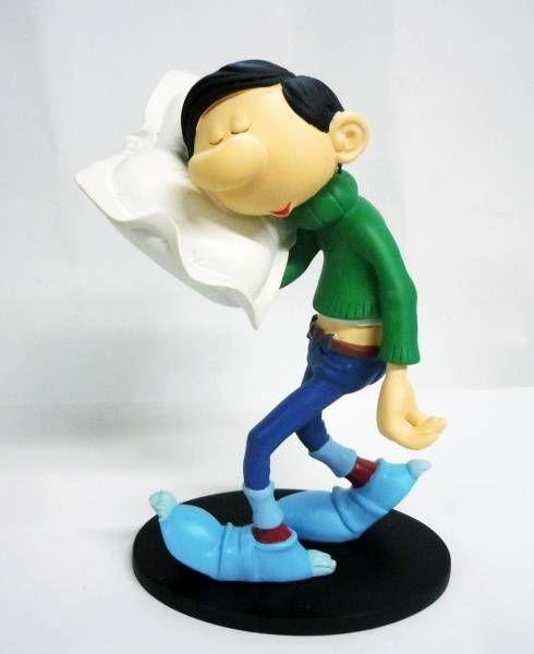oreiller neuf Gaston Lagaffe   Figurine Résine Plastoy   Gaston et son oreiller  oreiller neuf