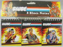 G.I.Joe - Set of 3 Notepads : Quick Kick, Flint, Tele-Viper - Hasbro France 1986