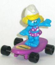 Hardee\'s Smurfette bathing dress on purple skateboard
