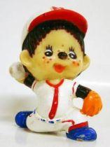 Japanese pvc figure Monchichi baseball thrower