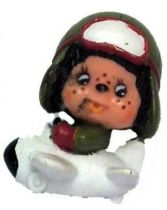 Japanese pvc figure Monchichi in plane