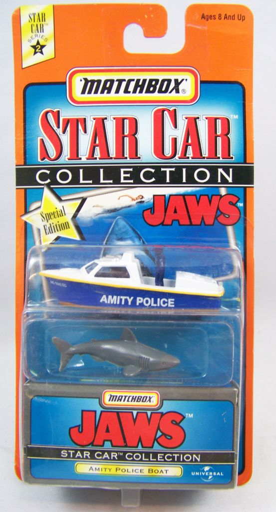 Les Dents de la Mer - Matchbox Star Car Collection - Bateau de la Police d\'Amity & Requin 01