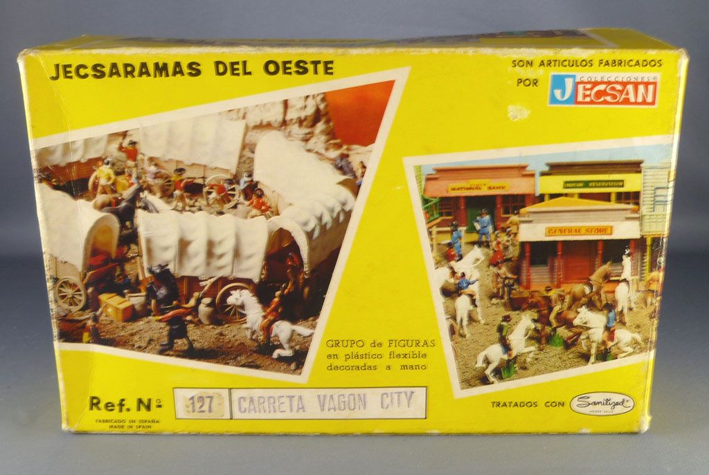 jecsan___far_west___serie_jecsaramas_del_oeste___cow_boys_chariot_plat_chargement_caisses___sac_neuf_boite_ref_127_5