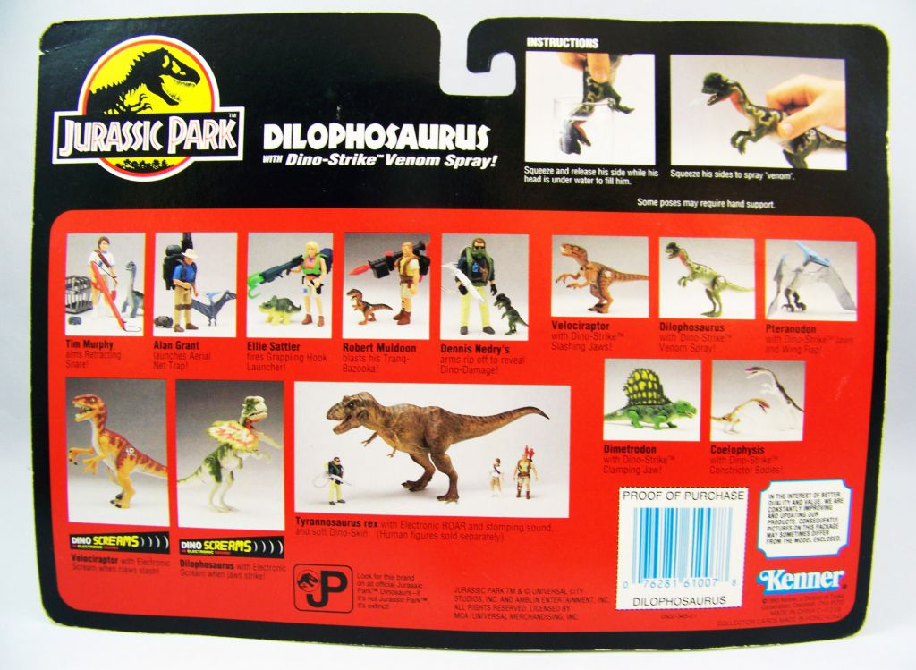 Jurassic Park - Kenner - Dilophosaurus (mint on card)