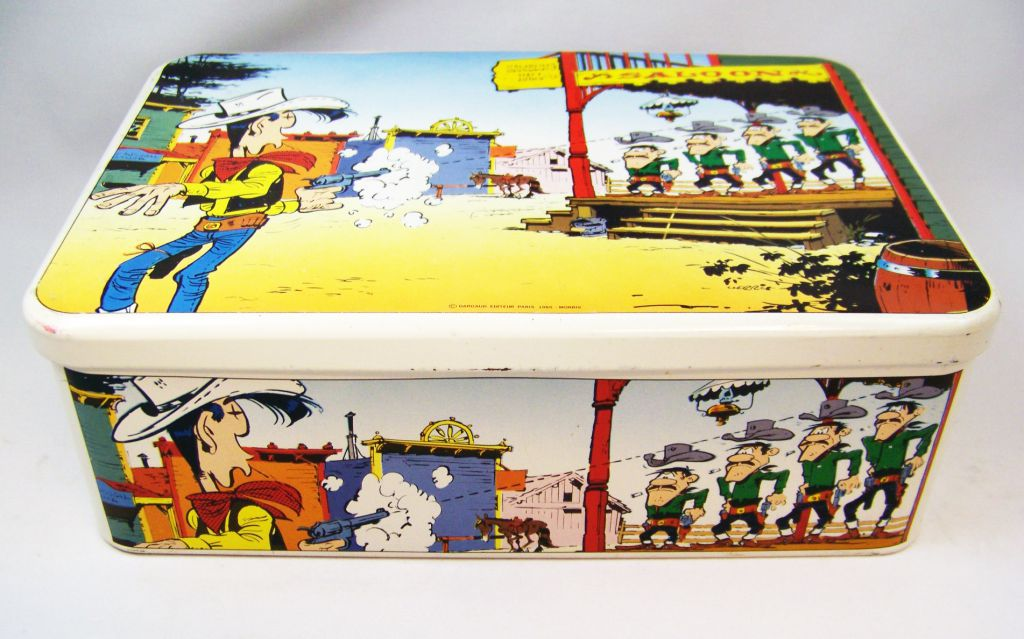 lucky luke boite biscuit en m tal massily 1985 lucky luke et les daltons. Black Bedroom Furniture Sets. Home Design Ideas