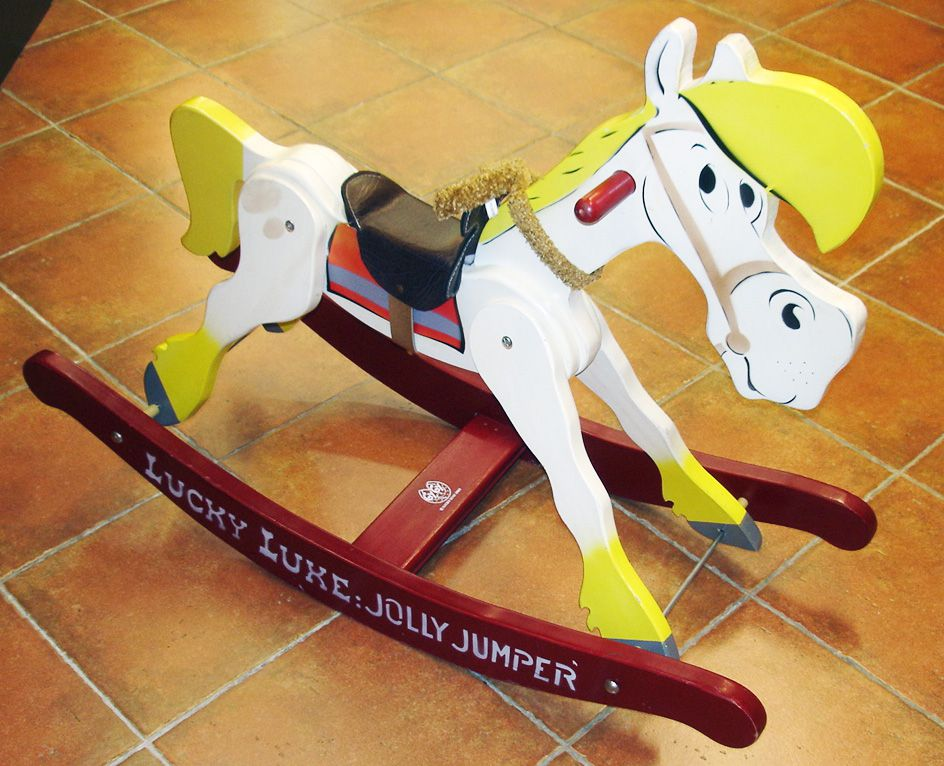 lucky luke cheval bascule jolly jumper en bois gygy. Black Bedroom Furniture Sets. Home Design Ideas