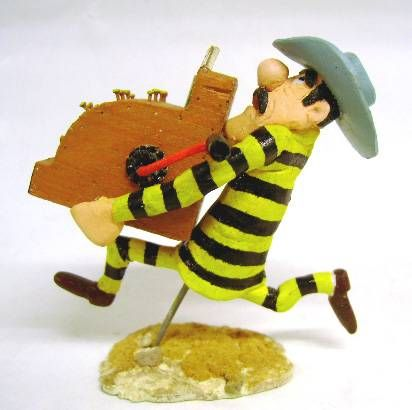 Lucky Luke - Resine Prototype - Dalton running with a cash register