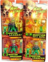 Mars Attacks! - Trendmasters - Set of 4 Martians : Ambassador, Leader, Trooper, Spy Girl