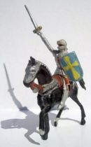 Merten 40mm - Middle Age - Mounted Knight Raising sword blue shield