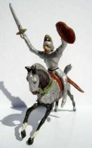 Merten 40mm - Middle Age - Mounted Knight Raising sword red oval shield
