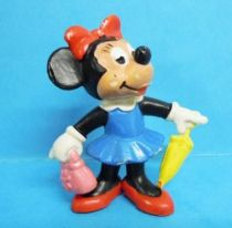 Mickey and friends - Bully 1977 PVC Figure - Minnie with hand-bag and ombrella