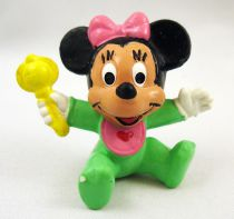 Mickey and friends - Bully 1985 PVC Figure - Baby Minnie Mouse with rattle
