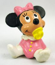Mickey and friends - Bully 1985 PVC Figure - Baby Minnie Mouse with sucker