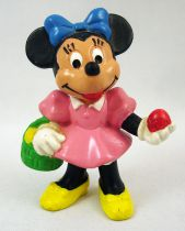 (Mickey and friends - Bully 1985 PVC Figure - Minnie Mouse with basket and easter eggs