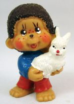 Monchichi - Bully pvc figure - Boy with rabbit