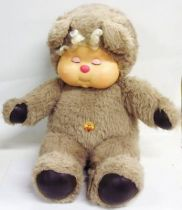 Nombrilou 14\'\' doll : sleeping,   grey-brown fur, white hair, bee belly button (loose) - Ajena