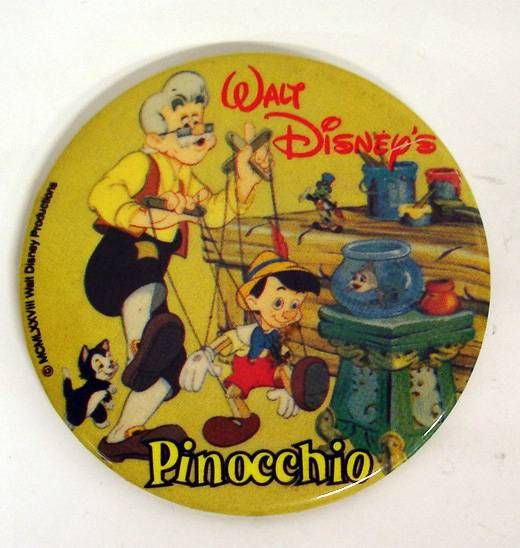 Pinocchio (Disney) - Vintage Button - 1978