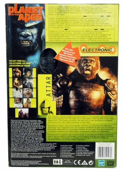 Planet of the apes (Tim Burton movie) - Hasbro - 12\'\' Electronic Attar (Mint in Box)