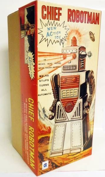 Robot - Battery Operated Tin Robot - Chief Robotman (Ha Ha Toys)