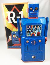 Robot - Battery Operated Tin Robot - Robot One R-1 (Rocket USA) Blue