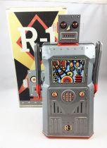 Robot - Battery Operated Tin Robot - Robot One R-1 (Rocket USA) Grey